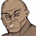 11869508 – caricature of a fighter with damaged face and cauliflower ears
