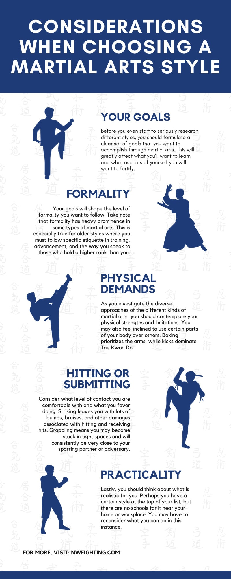 Considerations When Choosing a Martial Arts Style infographic